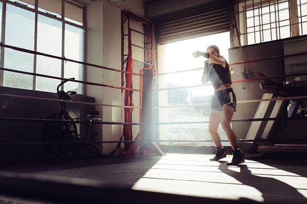 Female boxer training