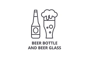 beer bottle and beer glass line icon, outline sign, linear symbol, vector, flat illustration