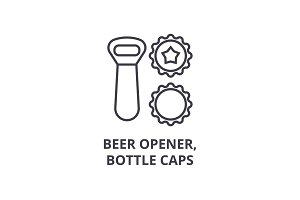 beer opener, bottle caps line icon, outline sign, linear symbol, vector, flat illustration