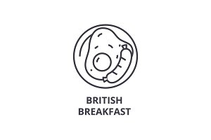 british breakfast line icon, outline sign, linear symbol, vector, flat illustration