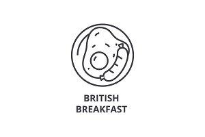 british breakfast line icon, outline sign, linear symbol, vector, flat illustration