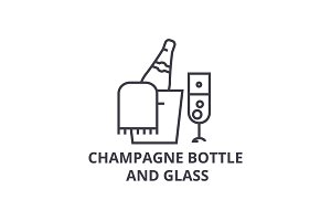 champagne bottle and glass line icon, outline sign, linear symbol, vector, flat illustration