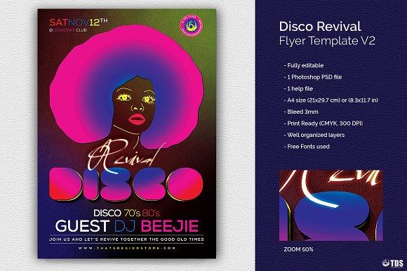 Disco Revival Flyer Template V2 Flyer Templates Creative Market