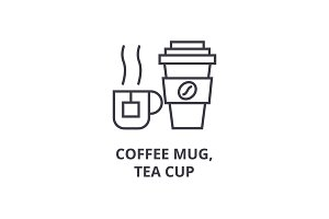 coffee mug, tea cup line icon, outline sign, linear symbol, vector, flat illustration
