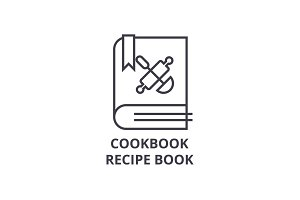 cookbook, recipe book line icon, outline sign, linear symbol, vector, flat illustration