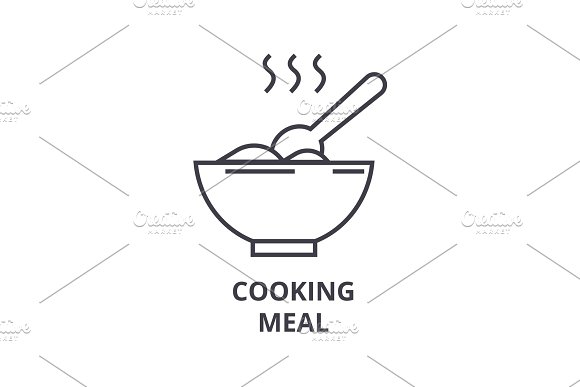 Cooking Meal Line Icon Outline Sign Linear Symbol Vector Flat Illustration