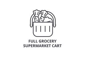 full grocery supermarket cart line icon, outline sign, linear symbol, vector, flat illustration