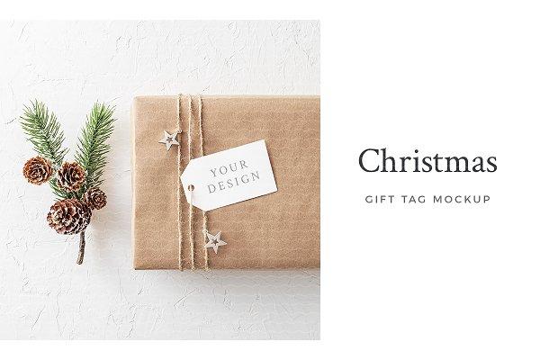 Christmas Gift Tag Mockup