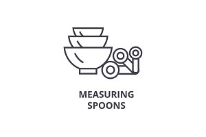measuring spoons line icon, outline sign, linear symbol, vector, flat illustration