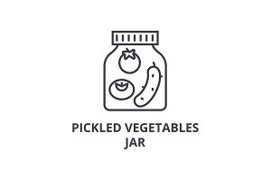pickled vegetables jar line icon, outline sign, linear symbol, vector, flat illustration