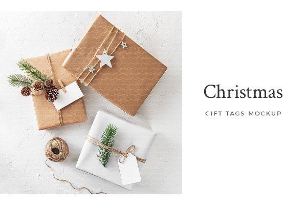 Christmas Gift Tags Mockup