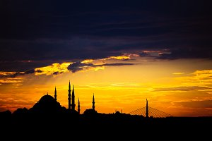 Istanbul cityscape with famous mosque at sunset