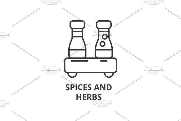 spices and herbs line icon, outline sign, linear symbol, vector, flat illustration