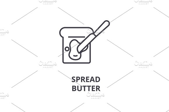 spread butter line icon, outline sign, linear symbol, vector, flat illustration