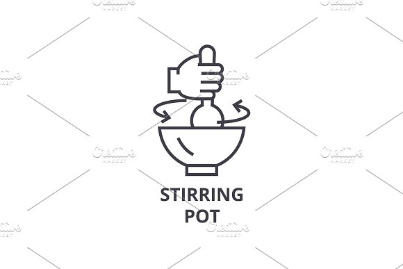 stirring pot line icon, outline sign, linear symbol, vector, flat illustration