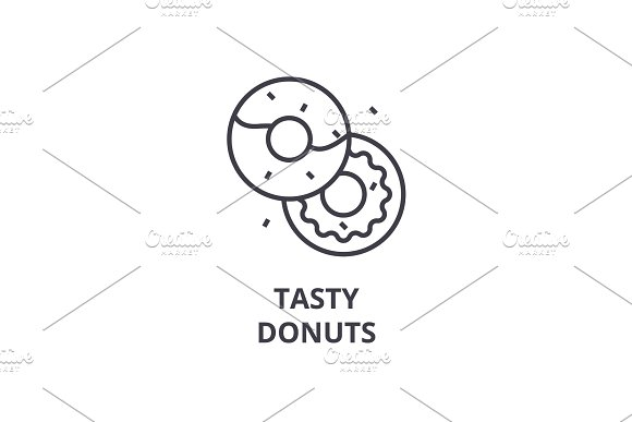 tasty donuts line icon, outline sign, linear symbol, vector, flat illustration