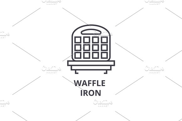 waffle iron line icon, outline sign, linear symbol, vector, flat illustration