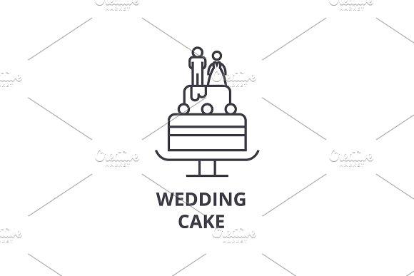 wedding cake line icon, outline sign, linear symbol, vector, flat illustration in Illustrations