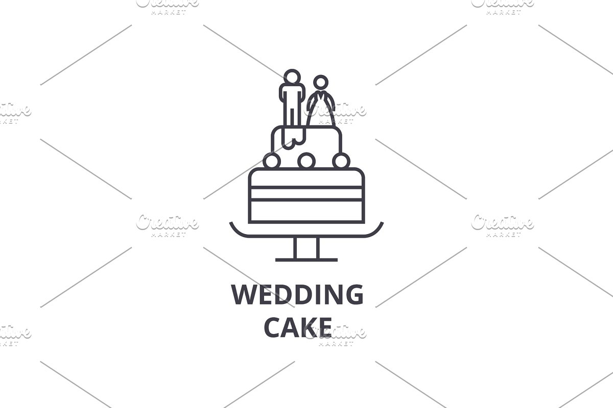 wedding cake line icon, outline sign, linear symbol, vector, flat illustration in Illustrations - product preview 8