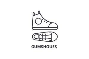 gumshoes line icon, outline sign, linear symbol, vector, flat illustration
