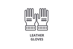 leather gloves line icon, outline sign, linear symbol, vector, flat illustration