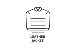 leather jacket line icon, outline sign, linear symbol, vector, flat illustration
