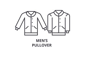 men pullover line icon, outline sign, linear symbol, vector, flat illustration