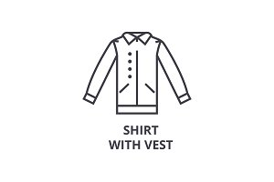 shirt with vest line icon, outline sign, linear symbol, vector, flat illustration