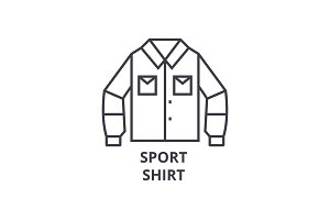 sport shirt line icon, outline sign, linear symbol, vector, flat illustration