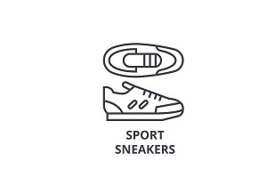 sport sneakers line icon, outline sign, linear symbol, vector, flat illustration