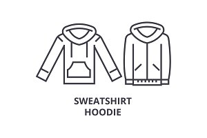 sweatshirt hoodie line icon, outline sign, linear symbol, vector, flat illustration
