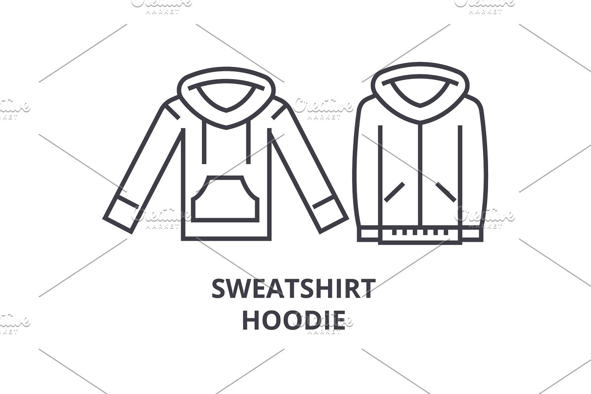 sweatshirt hoodie line icon, outline sign, linear symbol, vector, flat illustration
