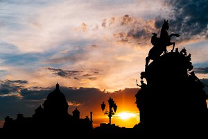 Beautiful sunset at Saint Petersburg city historical center , Russia