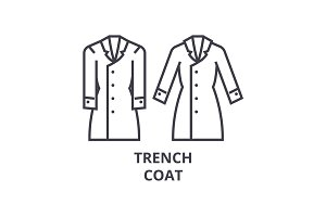 trench coat line icon, outline sign, linear symbol, vector, flat illustration