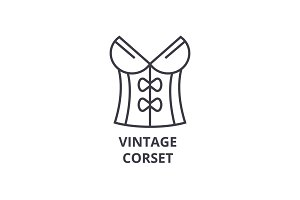 vintage corset line icon, outline sign, linear symbol, vector, flat illustration
