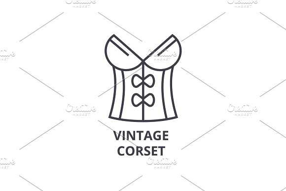 vintage corset line icon, outline sign, linear symbol, vector, flat illustration