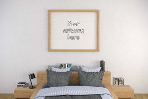 Wood frame 8x10 inch bedroom mockup