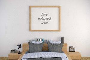 Wood frame 8x10 inch bedroom mockup