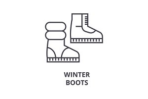 winter boots line icon, outline sign, linear symbol, vector, flat illustration