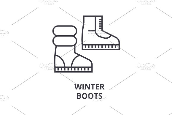 Winter Boots Line Icon Outline Sign Linear Symbol Vector Flat Illustration