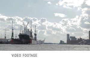 Cargo ship in Hamburg port.