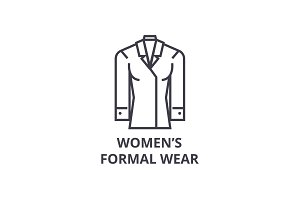 women formal wear line icon, outline sign, linear symbol, vector, flat illustration