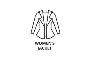 women jacket line icon, outline sign, linear symbol, vector, flat illustration