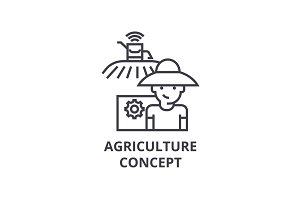 agriculture concept line icon, outline sign, linear symbol, vector, flat illustration