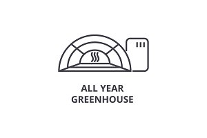 all year greenhose line icon, outline sign, linear symbol, vector, flat illustration