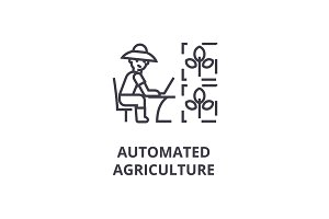 automated agriculture line icon, outline sign, linear symbol, vector, flat illustration