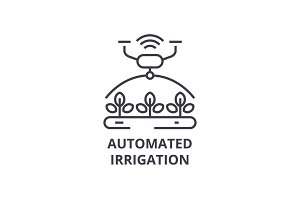 automated irrigation line icon, outline sign, linear symbol, vector, flat illustration