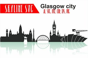 Glasgow SVG, Scotland Vector Skyline