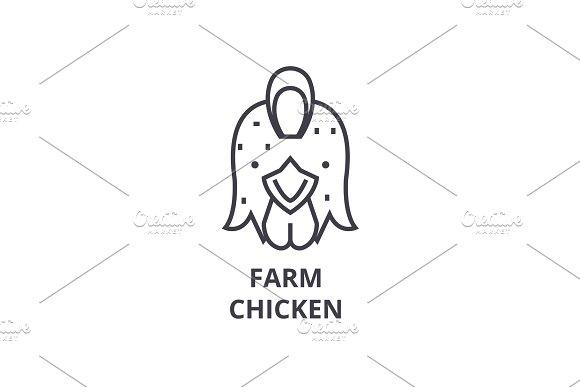 Farm Chicken Hen Line Icon Outline Sign Linear Symbol Vector Flat Illustration