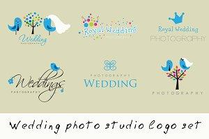 Wedding photo studio logo set